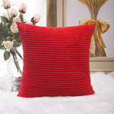 HOME BRILLIANT Decoration Christmas Solid Red Soft Striped Velvet Corduroy Plush Throw Cushion Cover