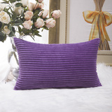 HOME BRILLIANT Decorative Plush Striped Velvet Corduroy Oblong Pillowcase Accent Cushion Cover, 12 x