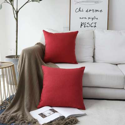 HOME BRILLIANT Linen Textured Decorative Pillow Covers Cushion Case Cover Sham for Sofa, 18x18, Pack