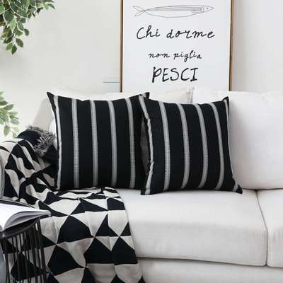 HOME BRILLIANT Decorative Country Throw Pillow Covers Modern Farmhouse Stripe Cushion Covers Bed Sof