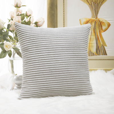 HOME BRILLIANT FBA_HBCRDCC102 Striped Velvet Cushion Cover for Chair Supersoft Handmade Decorative P
