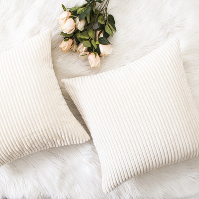 HOME BRILLIANT Decorative Accent Pillow Covers Case Striped Corduroy Plush Velvet Cushion Cover for