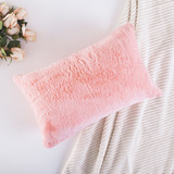 HOME BRILLIANT Plush Deluxe Fluffy Mongolian Faux Fur/Suede Throw Pillow Case Supersoft Oblong Cushi