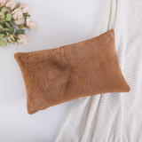 HOME BRILLIANT Plush Fluffy Sheepskin Fur/Suede Oblong Accent Throw Pillowcase for Sofa Cushion Cove
