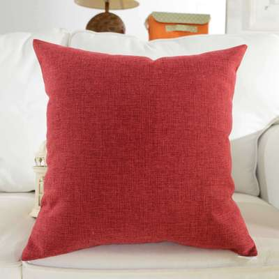 "HOME BRILLIANT Supersoft Linen Euro Sham Throw Pillow Cushion Cover for Bench, 20""x20"", Burgundy"