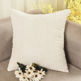HOME BRILLIANT Solid Decorative Accent Pillow Case Striped Corduroy Plush Velvet Cushion Cover for S