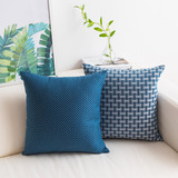 HOME BRILLIANT Set of 2 Linen Cushion Cover Dots and Checkers Woven Textured Nautical Lined Square D